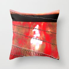 Four Behind Barbed Wire Throw Pillow