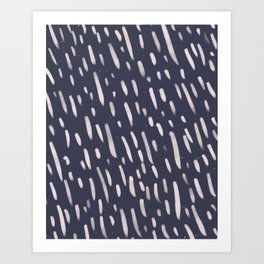 Abstract Brush Stroke Pattern - Navy  Art Print