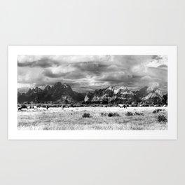 Horse and Grand Teton (Black and White) Art Print