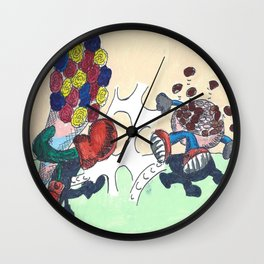 Flowers Versus Chocolate Wall Clock