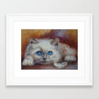 kitten Framed Art Prints featuring KITTEN by Canisart
