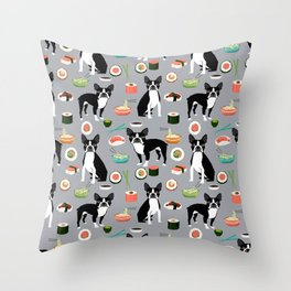 boston terrier sushi dog lover pet gifts cute boston terriers pure breeds Throw Pillow