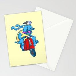 Blue dog / red vespa Stationery Cards