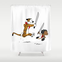 hobbes Shower Curtains featuring Bonifacio and Hobbes by Cesar Cueva