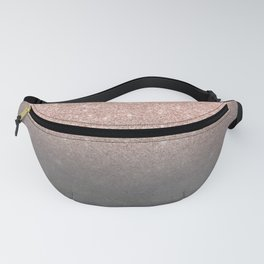 Rose gold glitter ombre grey cement concrete Fanny Pack