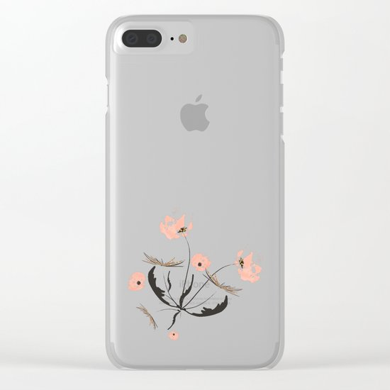 Sweet dandelions in pink - Floral Watercolor illustration with Glitter Clear iPhone Case