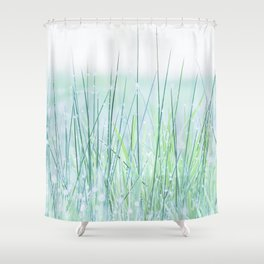 Field of grass in a fresh spring morning Shower Curtain