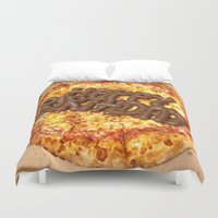 poop Duvet Covers featuring Pizza Poop by Carsick T-Rex