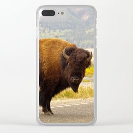 Wandering Yellowstone Bison Clear iPhone Case
