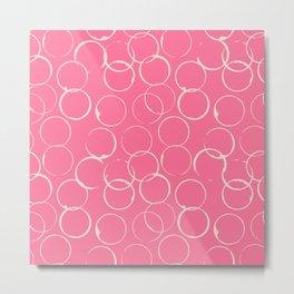 Circles Geometric Pattern Pink Antique White Metal Print