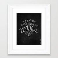 lyrics Framed Art Prints featuring LYRICS - Wildfire by Molly Freze