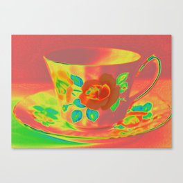 Teacup | Still Life | Vintage Coral Rose Teacup | Nadia Bonello Canvas Print