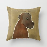 lab Throw Pillows featuring chocolate lab by bri.buckley