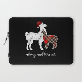 Buffalo Plaid Flannel Llama Mama Proud Mom Family Laptop Sleeve