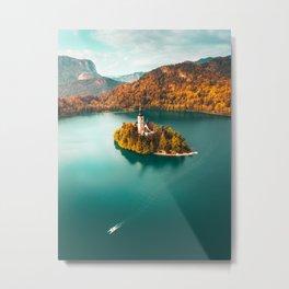 Little Island in Lake Bled, Slovenia Metal Print