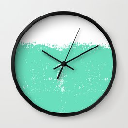 Abstract teal white modern artistic paint brushstrokes Wall Clock