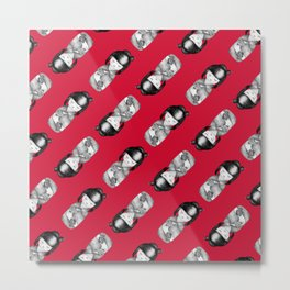 Kokeshi Black & White with Red Background Metal Print