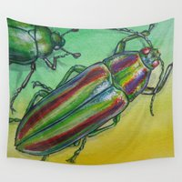 beetle Wall Tapestries featuring Shinny Beetle by Amy Fan