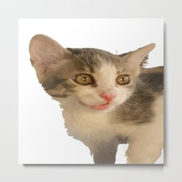 Cute Gray and White Kitten Vector Metal Print