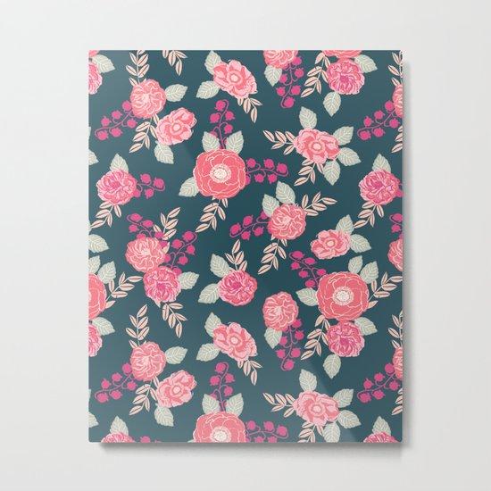 Ranunculus gardener garden floral flowers boho navy pink pastel cute pattern dorm college trendy Metal Print