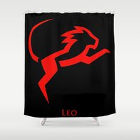 leo Shower Curtains featuring Leo by Groovyal