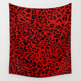 Red Leopard Wall Tapestry