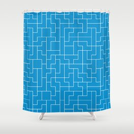 White Tetris Pattern on Blue Shower Curtain