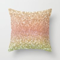 champagne Throw Pillows featuring Champagne Shimmer by Lisa Argyropoulos