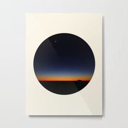 Orange & Blue Sunset Over The Australian Outback Round Photo Metal Print