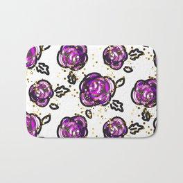 Hand drawn purple roses Bath Mat