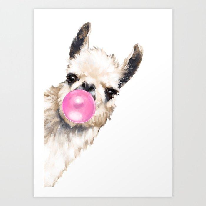 Bubble Gum Sneaky Llama Kunstdrucke