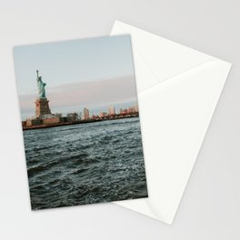 Statue of Liberty with skyline NYC with Sunset   Colourful Travel Photography   New York City (USA) Stationery Cards