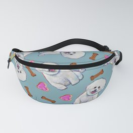 Cute Bichon Frise Pattern On Teal Blue Fanny Pack