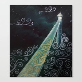 Starry Night Lighthouse Canvas Print