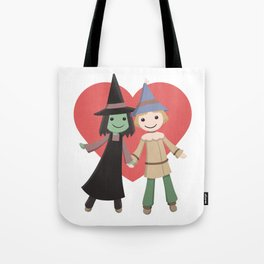 Cute witch and scarecrow Tote Bag