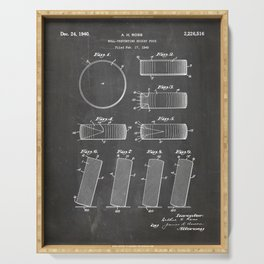 Ice Hockey Patent - Hockey Puck Art - Black Chalkboard Serving Tray