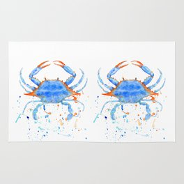 Watercolor blue crab paint splatter Rug
