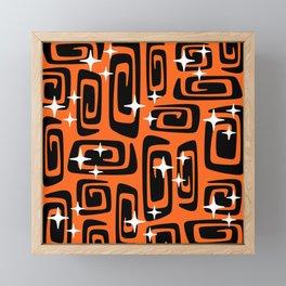Mid Century Modern Cosmic Galaxies 435 Black and Orange Framed Mini Art Print