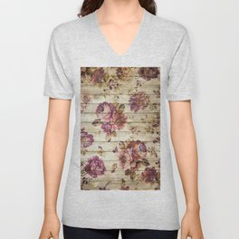 Rustic Vintage Country Floral Wood Romantic Unisex V-Neck