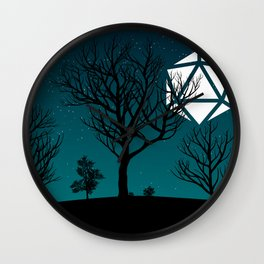 Starry Night Forest D20 Dice Moon Wall Clock