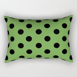 Black & Green Polka Dots Rectangular Pillow