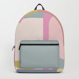 Modern Pastel Architecture Shapes in Pink, Yellow, and Blue Backpack