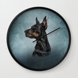 Drawing Doberman dog  6 Wall Clock