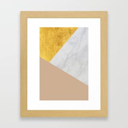 Carrara Marble with Gold and Pantone Hazelnut Color Framed Art Print