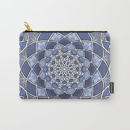 12-Fold Mandala Flower in Blue Carry-All Pouch