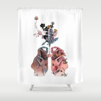lungs Shower Curtains featuring Lungs by La Scarlatte