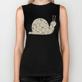 Woodland Snail in Watercolor Fungi Forest, Moss Green and Ochre Earth Animal Pattern Biker Tank