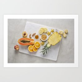Yellow and Orange Organic Fruits and Vegetables Art Print
