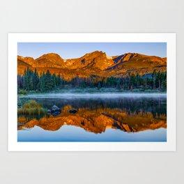 Rocky Mountain Park Mountain Landscape - Colorful Sunrise Reflections Art Print