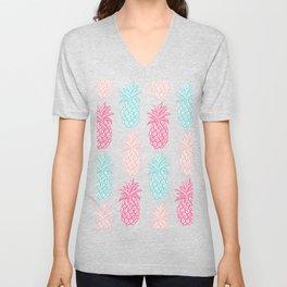 Pineapple Summer (pink and blue) Unisex V-Neck
